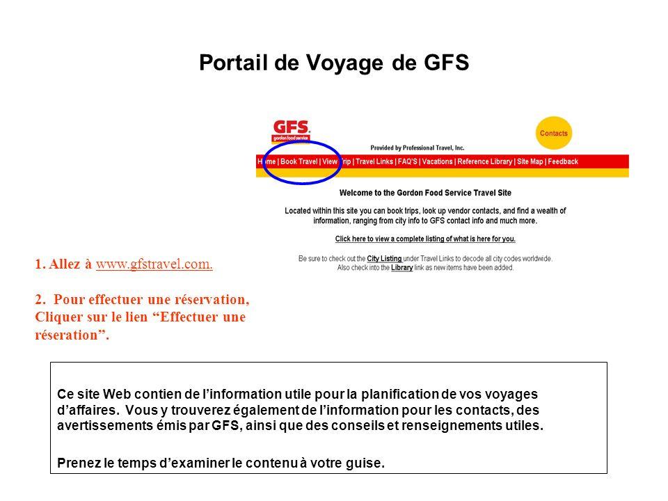 Portail de Voyage de GFS 1. Allez à www.gfstravel.com. 2. Pour effectuer une réservation, Cliquer sur le lien Effectuer une réseration. Ce site Web co