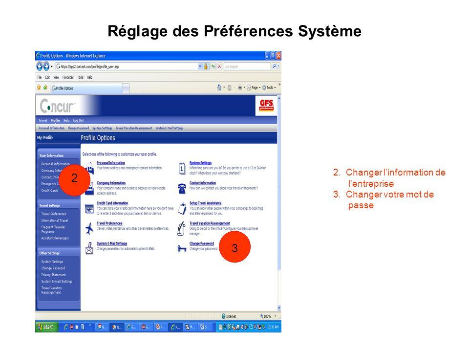 Réglage des Préférences Système 2. Changer linformation de lentreprise 3. Changer votre mot de passe 1 1 2 3