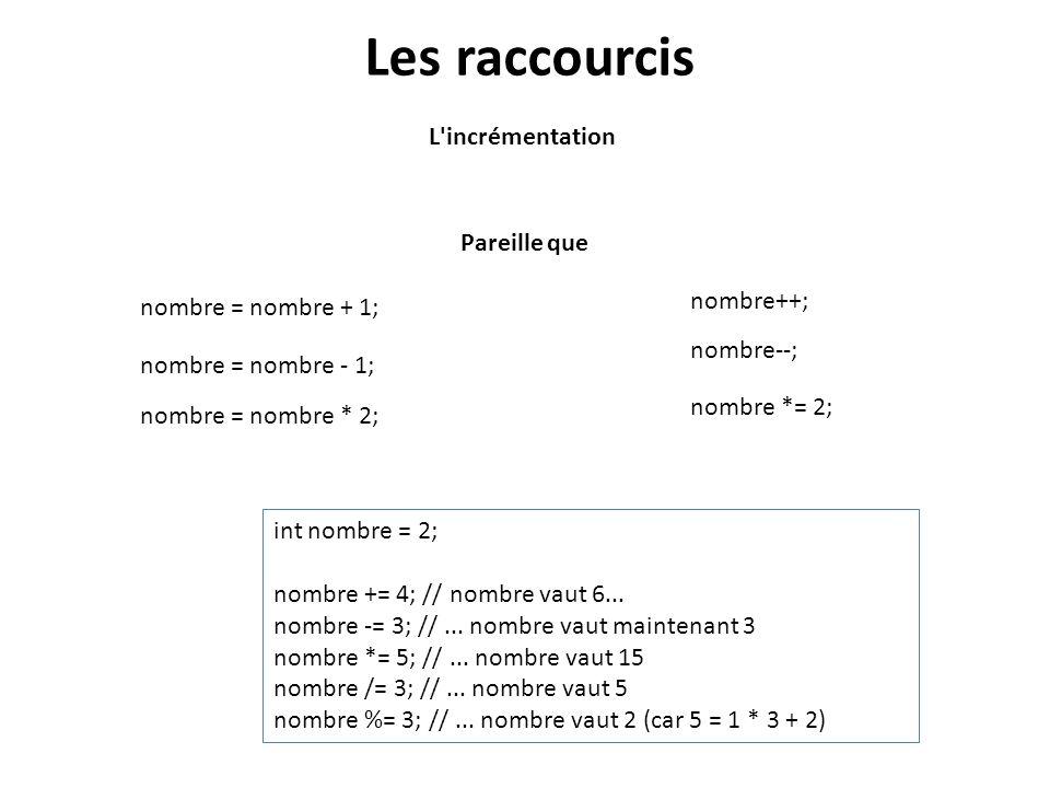 Les raccourcis L'incrémentation nombre = nombre + 1; nombre++; Pareille que nombre = nombre - 1; nombre--; nombre = nombre * 2; nombre *= 2; int nombr