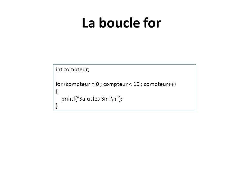 La boucle for int compteur; for (compteur = 0 ; compteur < 10 ; compteur++) { printf(
