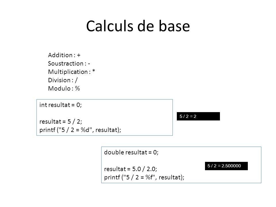 Le modulo % Le modulo est une opération mathématique qui permet d obtenir le reste d une division.