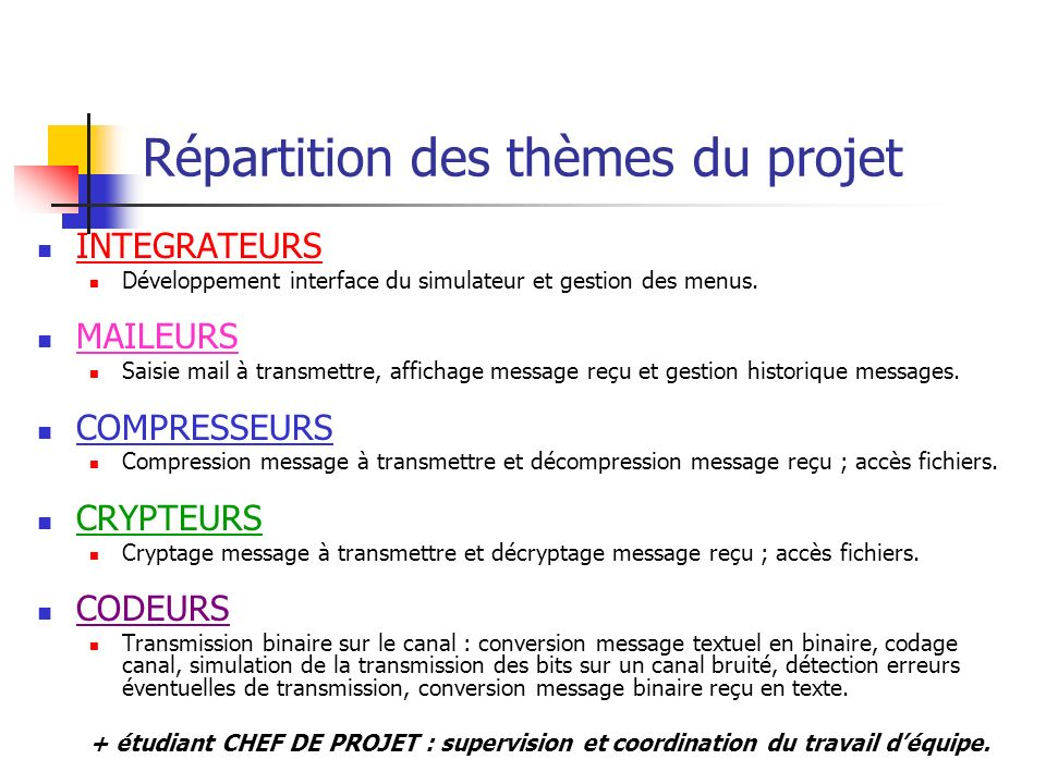 Répartition des thèmes du projet INTEGRATEURS Développement interface du simulateur et gestion des menus. MAILEURS Saisie mail à transmettre, affichag