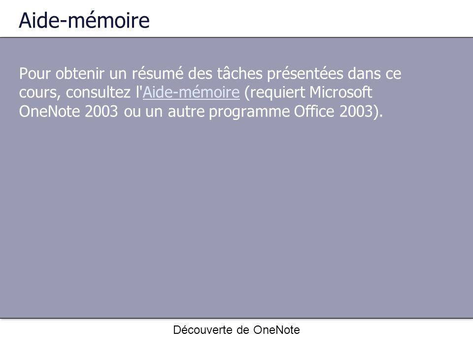 Découverte de OneNote Aide-mémoire Pour obtenir un résumé des tâches présentées dans ce cours, consultez l'Aide-mémoire (requiert Microsoft OneNote 20