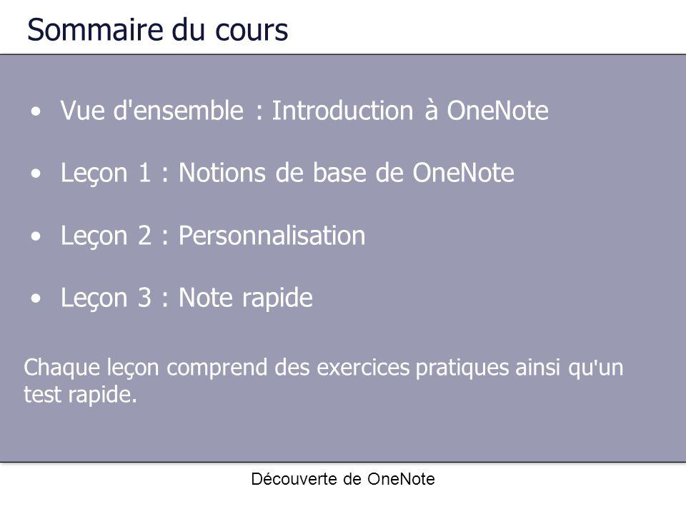 Sommaire du cours Vue d'ensemble : Introduction à OneNote Leçon 1 : Notions de base de OneNote Leçon 2 : Personnalisation Leçon 3 : Note rapide Chaque