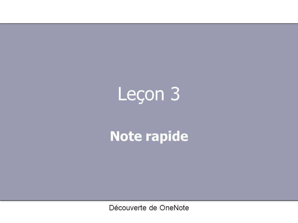 Leçon 3 Note rapide Découverte de OneNote