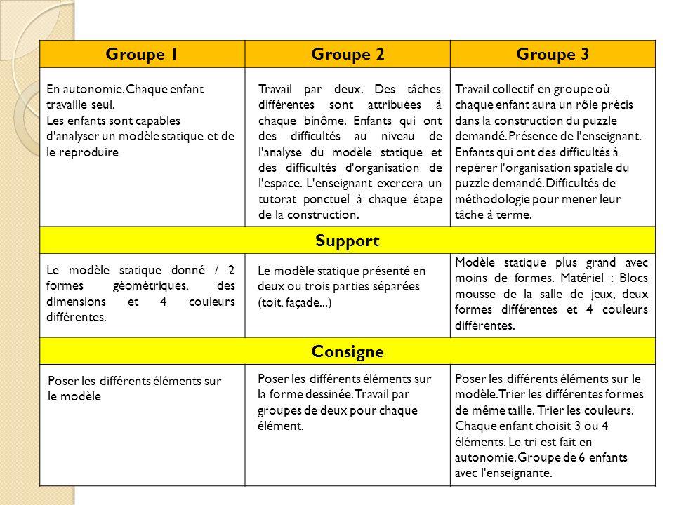 Groupe 1Groupe 2Groupe 3 Support Consigne En autonomie. Chaque enfant travaille seul. Les enfants sont capables d'analyser un modèle statique et de le