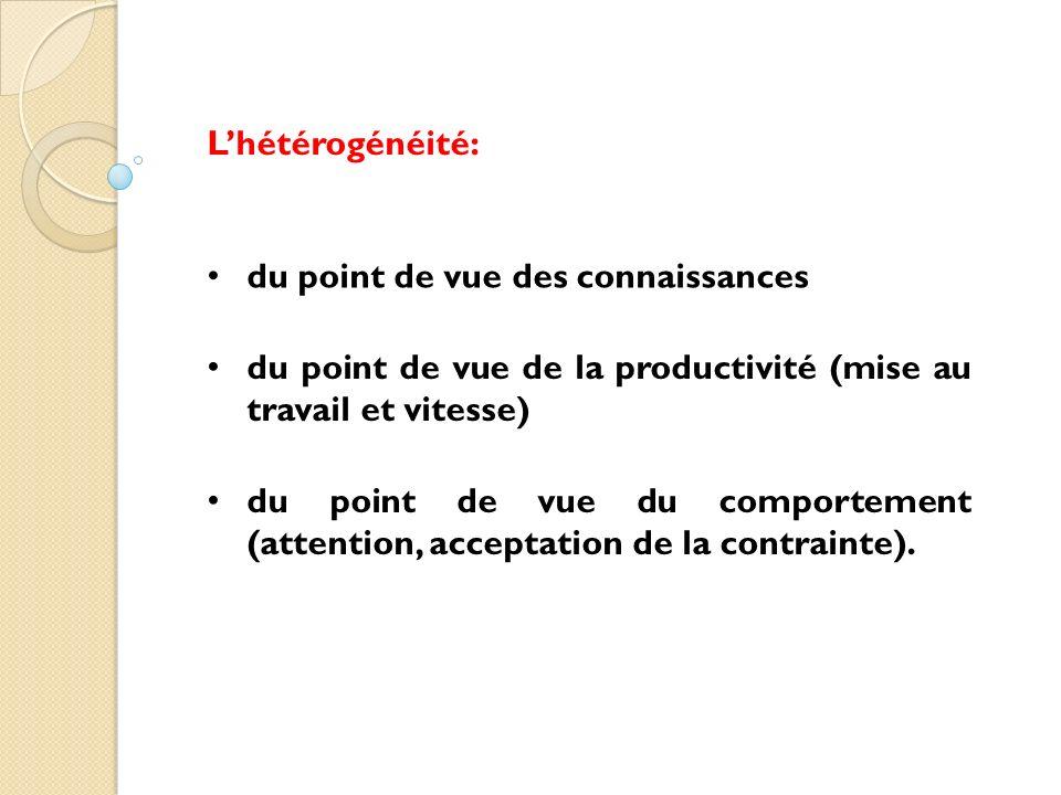 Lhétérogénéité: du point de vue des connaissances du point de vue de la productivité (mise au travail et vitesse) du point de vue du comportement (att