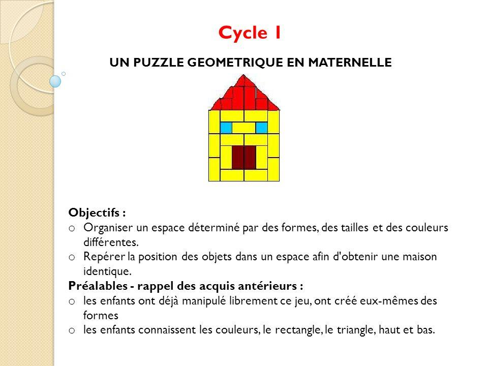 Cycle 1 UN PUZZLE GEOMETRIQUE EN MATERNELLE Objectifs : o Organiser un espace déterminé par des formes, des tailles et des couleurs différentes. o Rep