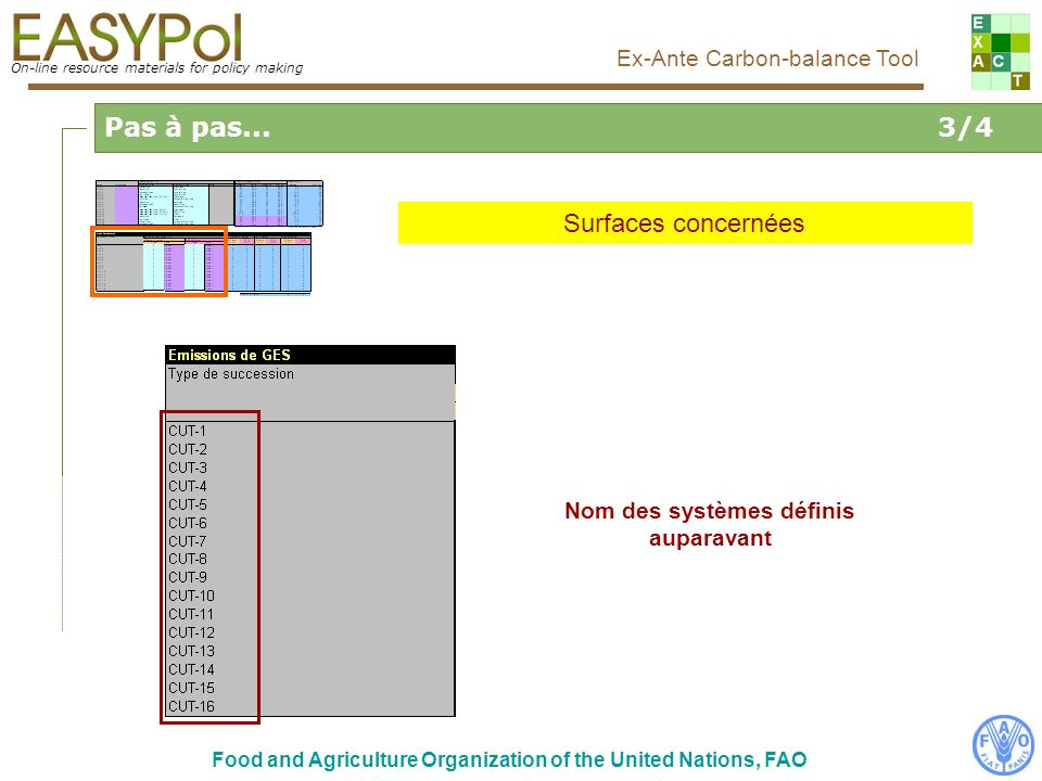 On-line resource materials for policy making Ex-Ante Carbon-balance Tool Food and Agriculture Organization of the United Nations, FAO Pas à pas... 3/4