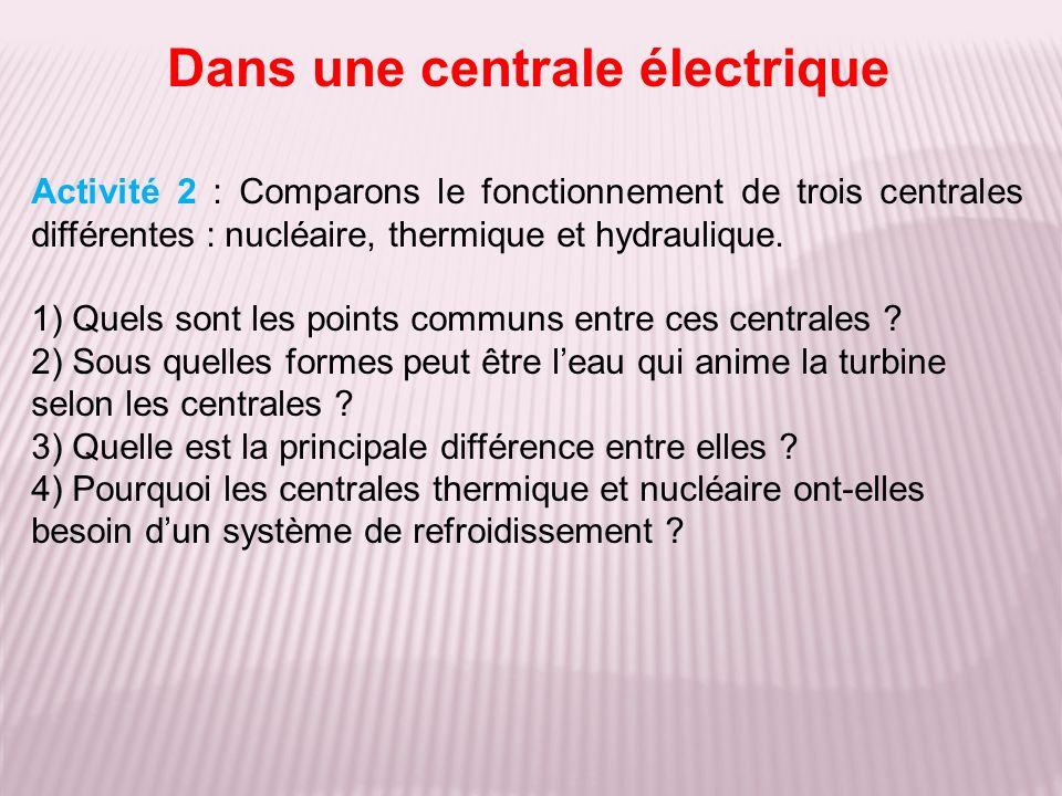 Activité 2 : Comparons le fonctionnement de trois centrales différentes : nucléaire, thermique et hydraulique. 1) Quels sont les points communs entre