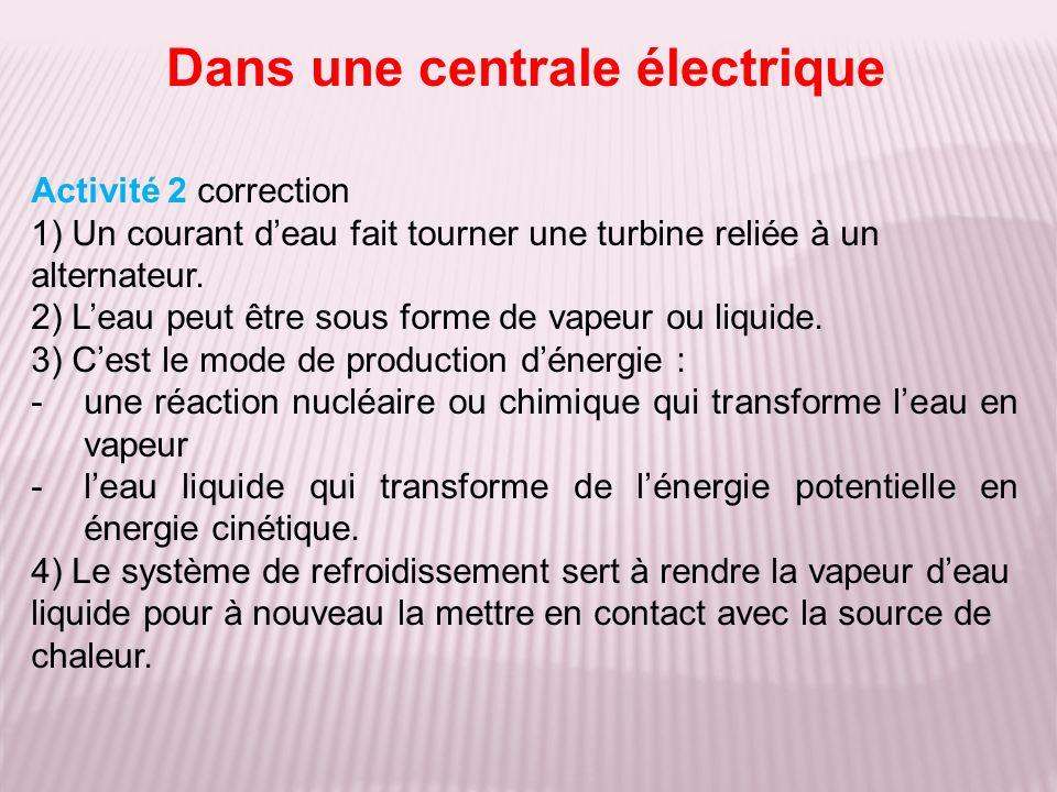 Activité 2 correction 1) Un courant deau fait tourner une turbine reliée à un alternateur. 2) Leau peut être sous forme de vapeur ou liquide. 3) Cest