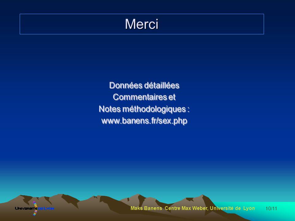 10/11 Merci Données détaillées Commentaires et Notes méthodologiques : www.banens.fr/sex.php Maks Banens Centre Max Weber, Université de Lyon