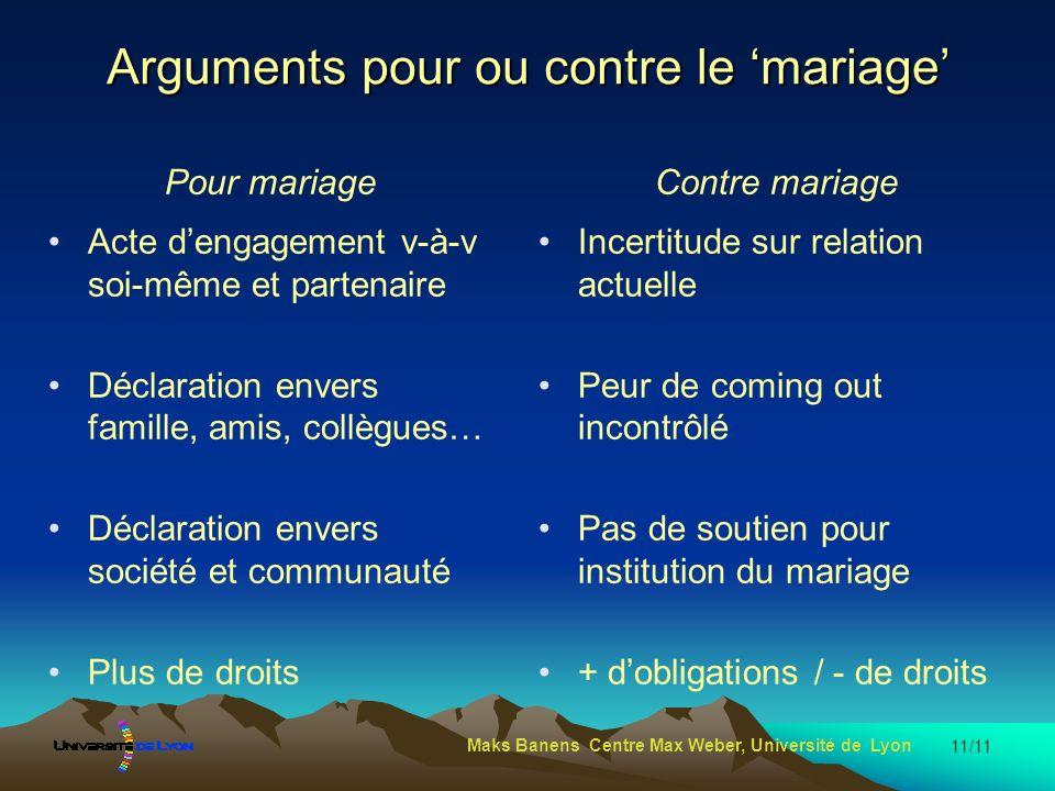 Arguments pour ou contre le mariage Pour mariage Acte dengagement v-à-v soi-même et partenaire Déclaration envers famille, amis, collègues… Déclaratio