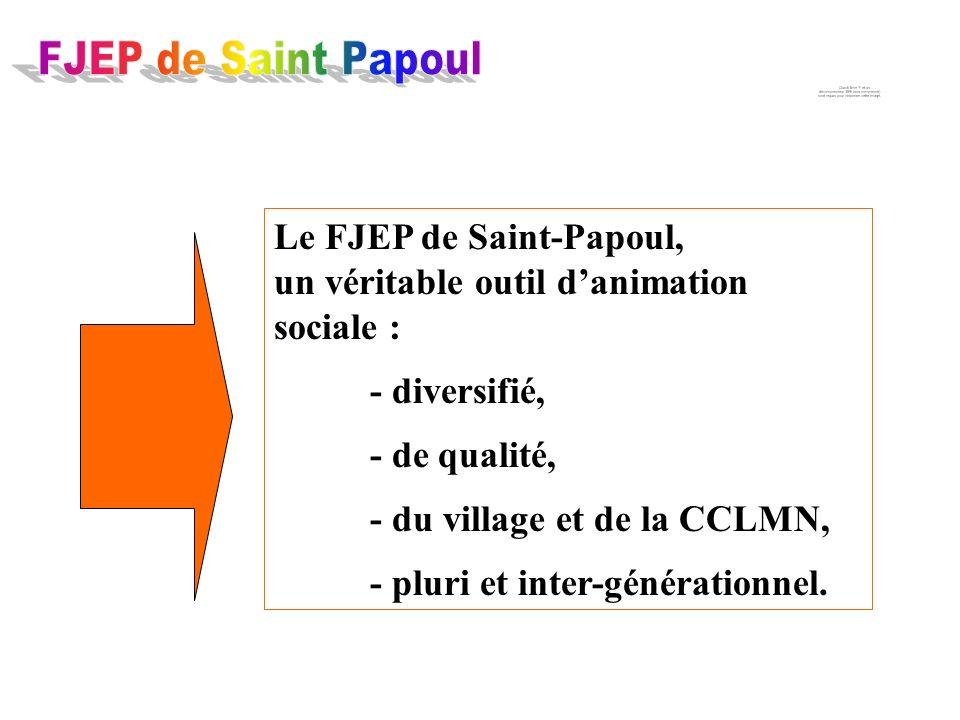 Le FJEP de Saint-Papoul, un véritable outil danimation sociale : - diversifié, - de qualité, - du village et de la CCLMN, - pluri et inter-générationnel.