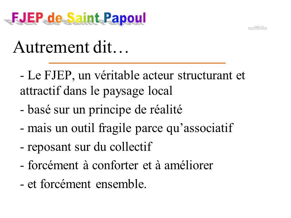 - Le FJEP, un véritable acteur structurant et attractif dans le paysage local - basé sur un principe de réalité - mais un outil fragile parce quassociatif - reposant sur du collectif - forcément à conforter et à améliorer - et forcément ensemble.