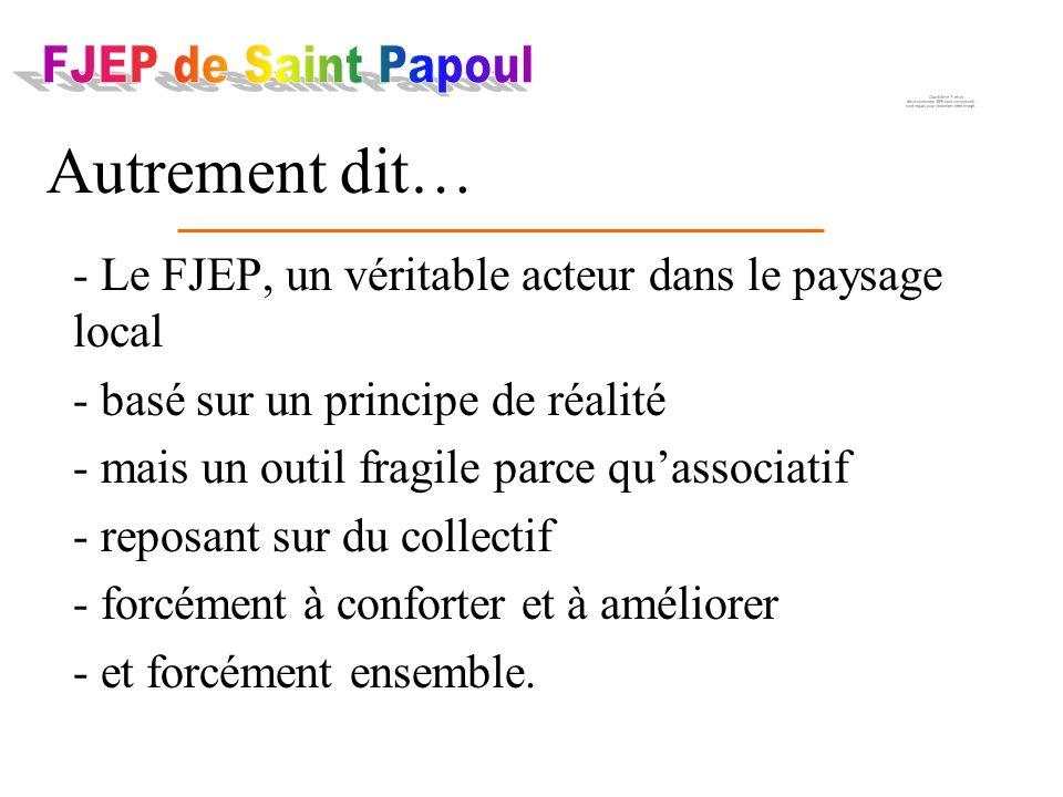 - Le FJEP, un véritable acteur dans le paysage local - basé sur un principe de réalité - mais un outil fragile parce quassociatif - reposant sur du co