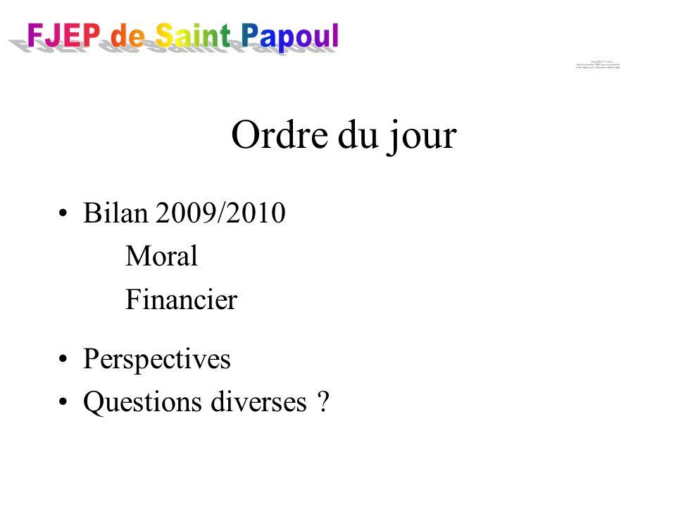 Bilan 2009/2010 Moral Financier Perspectives Questions diverses Ordre du jour
