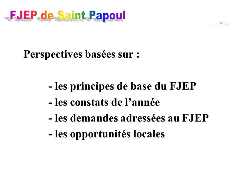 Perspectives basées sur : - les principes de base du FJEP - les constats de lannée - les demandes adressées au FJEP - les opportunités locales