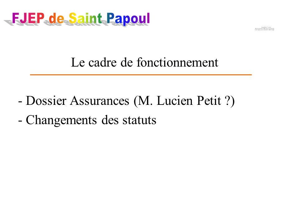 Le cadre de fonctionnement - Dossier Assurances (M. Lucien Petit ) - Changements des statuts