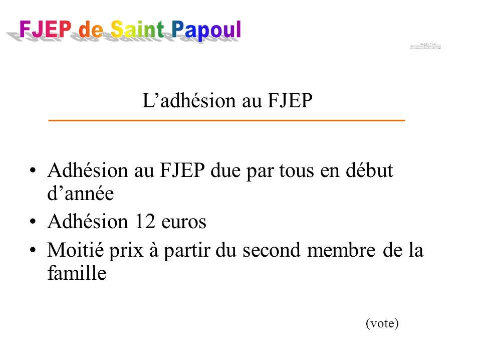 Adhésion au FJEP due par tous en début dannée Adhésion 12 euros Moitié prix à partir du second membre de la famille (vote) Ladhésion au FJEP
