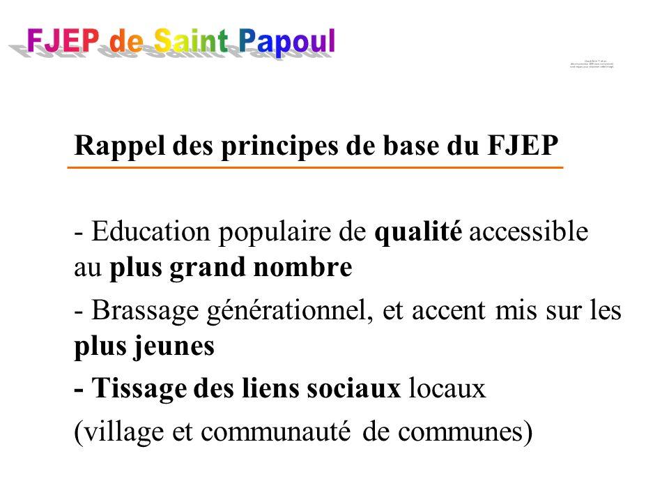 Rappel des principes de base du FJEP - Education populaire de qualité accessible au plus grand nombre - Brassage générationnel, et accent mis sur les plus jeunes - Tissage des liens sociaux locaux (village et communauté de communes)