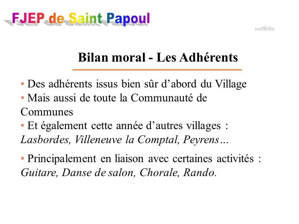 Bilan moral - Les Adhérents Des adhérents issus bien sûr dabord du Village Mais aussi de toute la Communauté de Communes Et également cette année daut