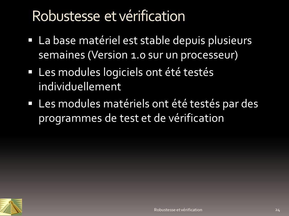 24 Robustesse et vérification La base matériel est stable depuis plusieurs semaines (Version 1.0 sur un processeur) Les modules logiciels ont été test