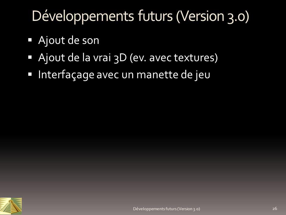 26 Développements futurs (Version 3.0) Ajout de son Ajout de la vrai 3D (ev. avec textures) Interfaçage avec un manette de jeu