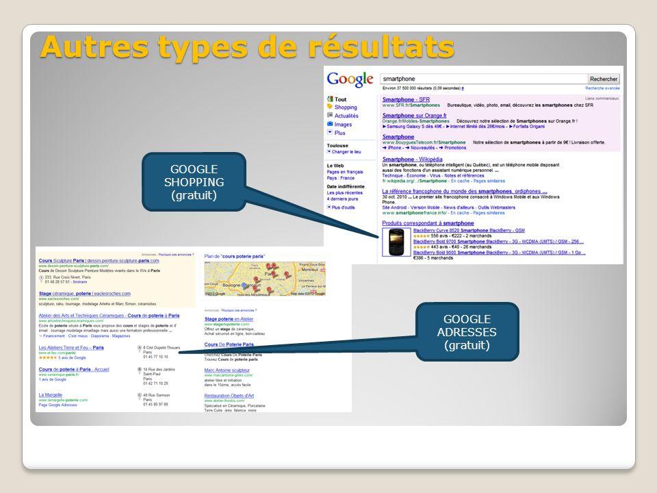 Autres types de résultats GOOGLE SHOPPING (gratuit) GOOGLE ADRESSES (gratuit)
