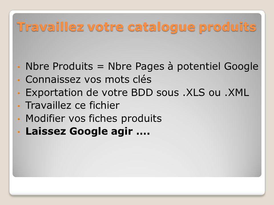 Travaillez votre catalogue produits Nbre Produits = Nbre Pages à potentiel Google Connaissez vos mots clés Exportation de votre BDD sous.XLS ou.XML Travaillez ce fichier Modifier vos fiches produits Laissez Google agir ….