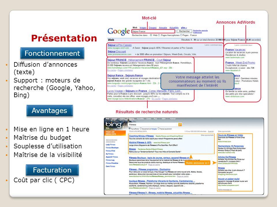 Diffusion dannonces (texte) Support : moteurs de recherche (Google, Yahoo, Bing) Mise en ligne en 1 heure Maîtrise du budget Souplesse dutilisation Ma