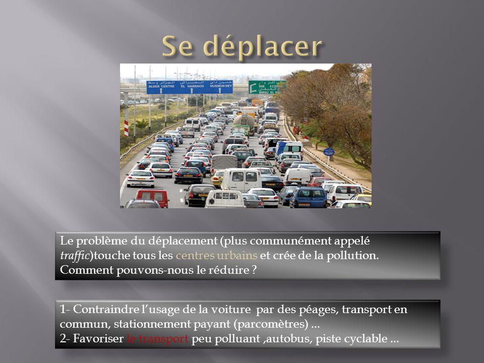 Le problème du déplacement (plus communément appelé traffic )touche tous les centres urbains et crée de la pollution.