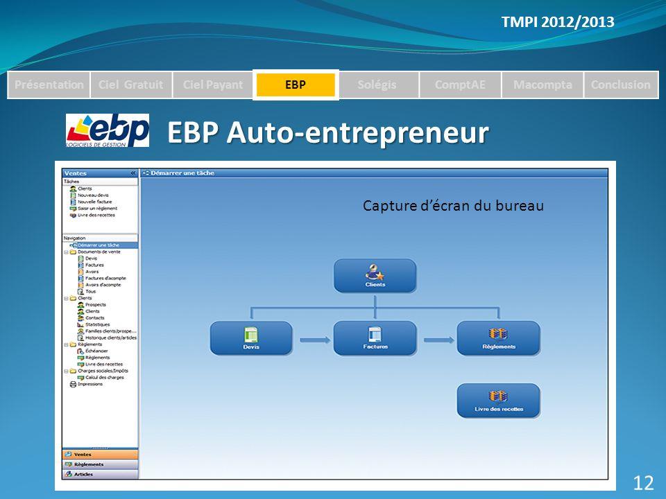 TMPI 2012/2013 PrésentationCiel GratuitCiel PayantEBPSolégisComptAEMacomptaConclusion EBP Auto-entrepreneur 12 Capture décran du bureau