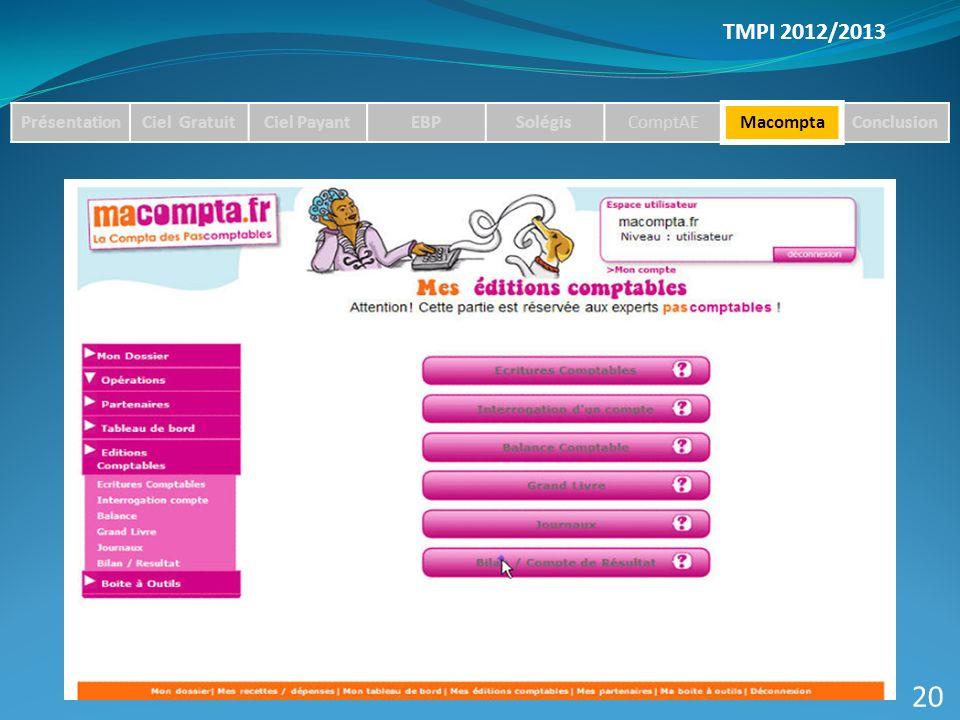 TMPI 2012/2013 PrésentationCiel GratuitCiel PayantEBPSolégisComptAEMacomptaConclusion 20