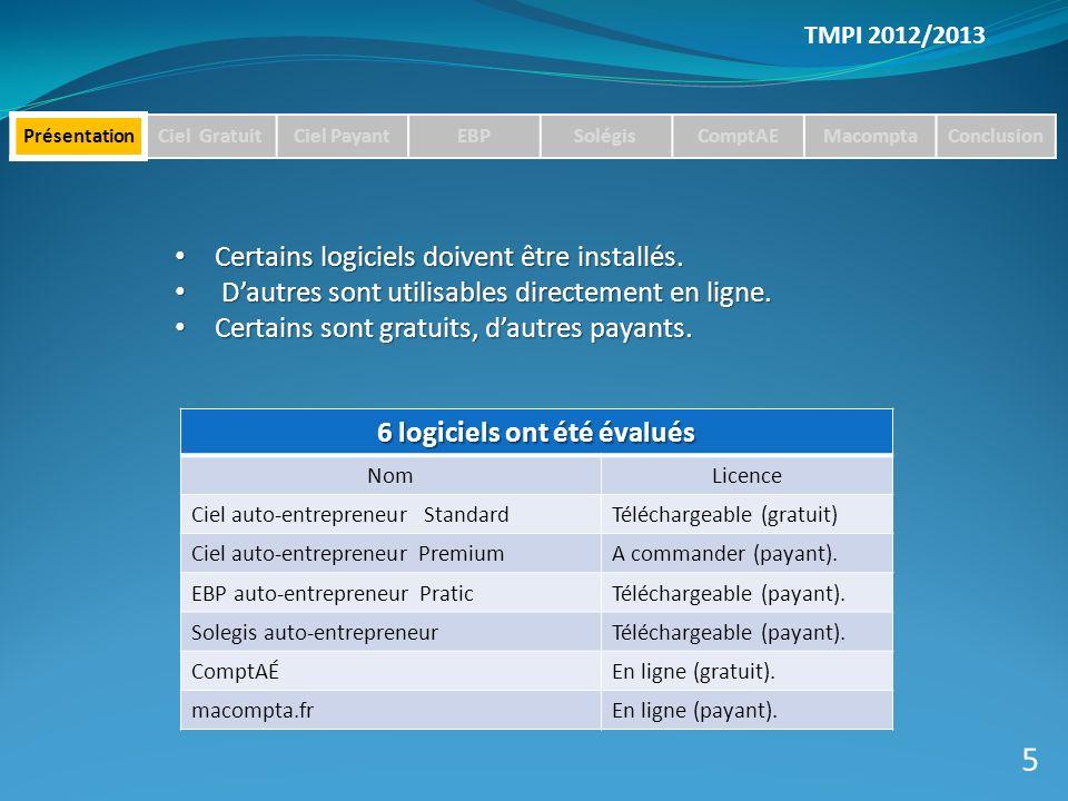 TMPI 2012/2013 PrésentationCiel GratuitCiel PayantEBPSolégisComptAEMacomptaConclusion Certains logiciels doivent être installés.