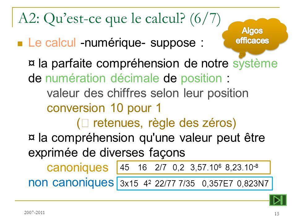 A2: Quest-ce que le calcul? (6/7) Le calcul -numérique- suppose : ¤ la parfaite compréhension de notre système de numération décimale de position : va