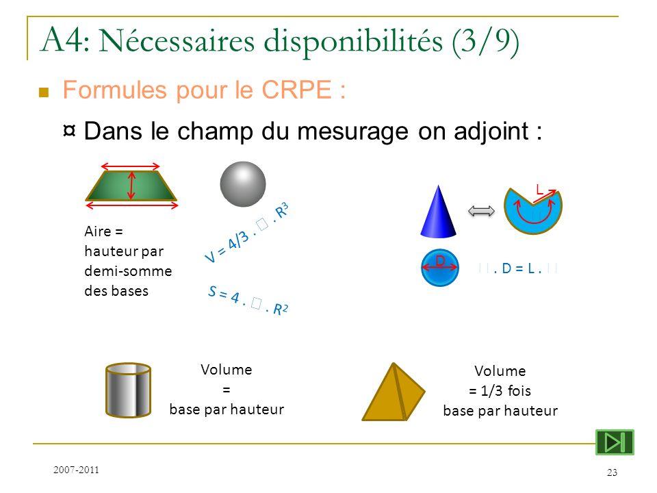 A4 : Nécessaires disponibilités (3/9) Formules pour le CRPE : ¤ Dans le champ du mesurage on adjoint : 23 2007-2011 Aire = hauteur par demi-somme des