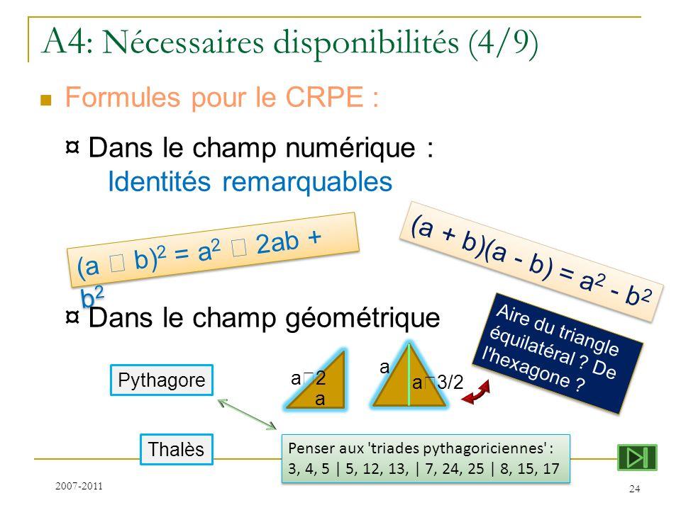 A4 : Nécessaires disponibilités (4/9) Formules pour le CRPE : ¤ Dans le champ numérique : Identités remarquables ¤ Dans le champ géométrique 24 Aire d