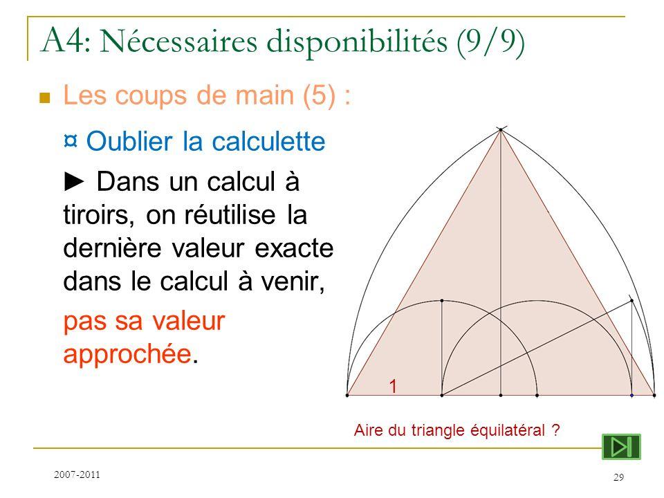 A4 : Nécessaires disponibilités (9/9) Les coups de main (5) : ¤ Oublier la calculette Dans un calcul à tiroirs, on réutilise la dernière valeur exacte
