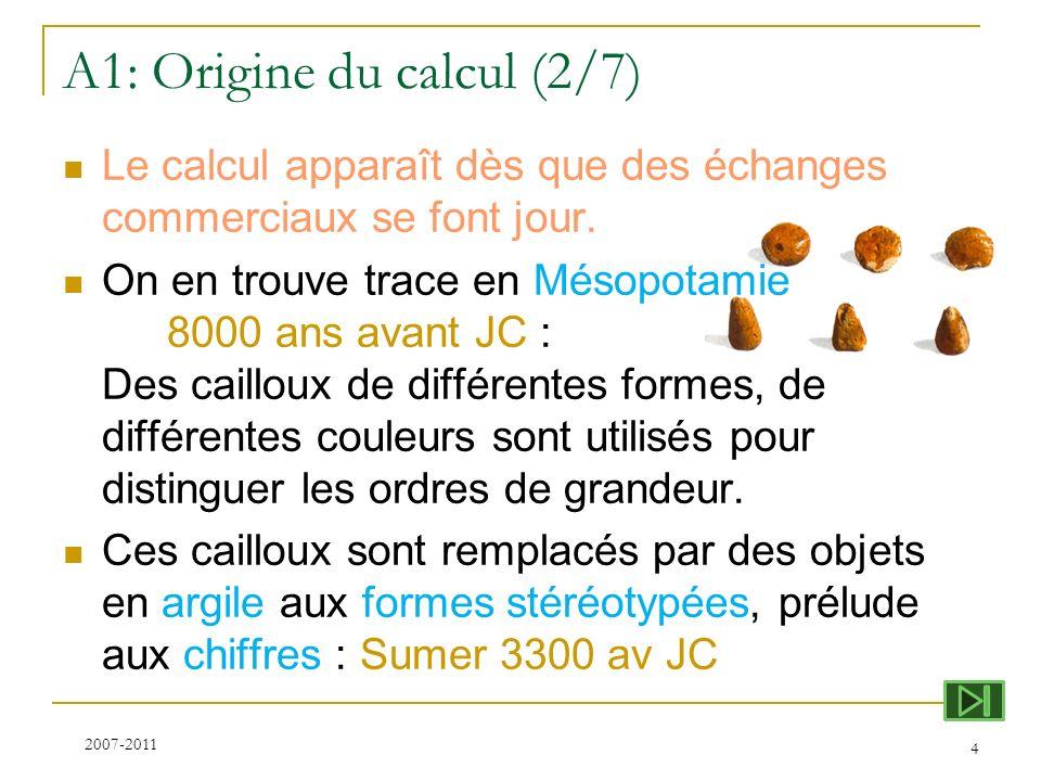 A1: Origine du calcul (2/7) Le calcul apparaît dès que des échanges commerciaux se font jour. On en trouve trace en Mésopotamie 8000 ans avant JC : De