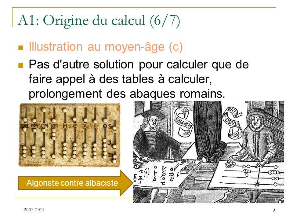 A1: Origine du calcul (6/7) Illustration au moyen-âge (c) Pas d'autre solution pour calculer que de faire appel à des tables à calculer, prolongement