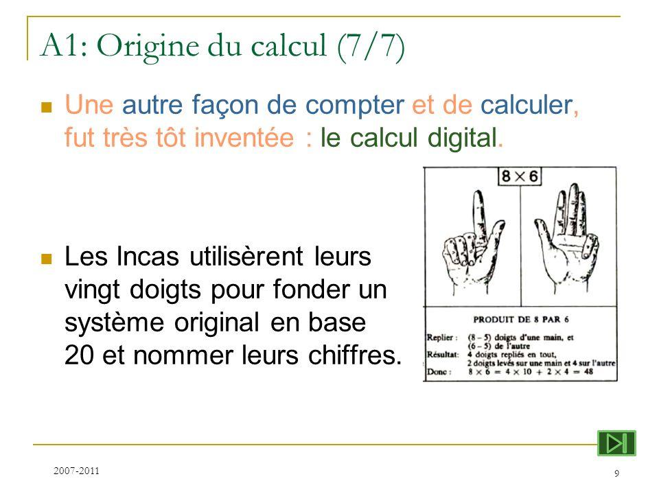 A1: Origine du calcul (7/7) Une autre façon de compter et de calculer, fut très tôt inventée : le calcul digital. Les Incas utilisèrent leurs vingt do