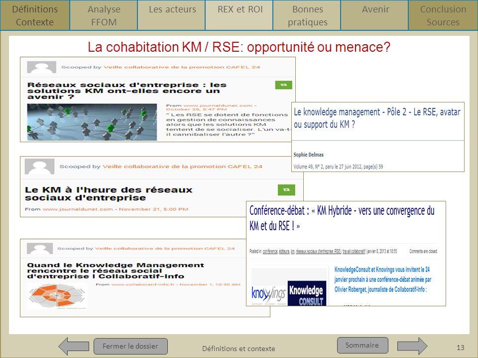 La cohabitation KM / RSE Fermer le dossier Sommaire La cohabitation KM / RSE: opportunité ou menace? 13 Définitions et contexte Définitions Contexte A