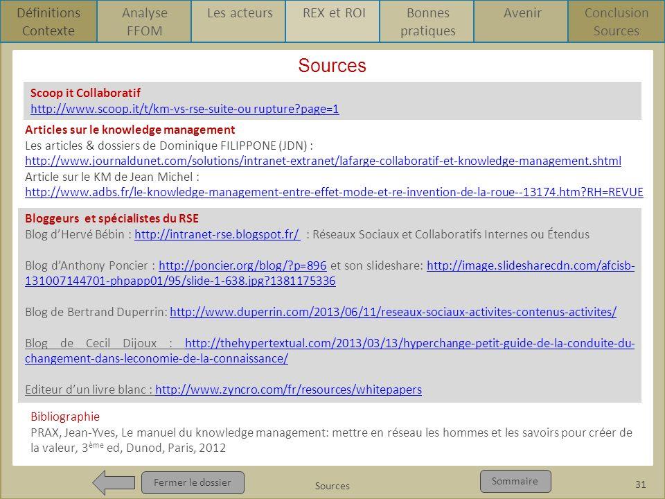 Sources Pour qui ? Pour quoi ? p1 Fermer le dossier Sommaire Sources Fermer le dossier Sommaire 31 Sources Définitions Contexte Analyse FFOM Les acteu