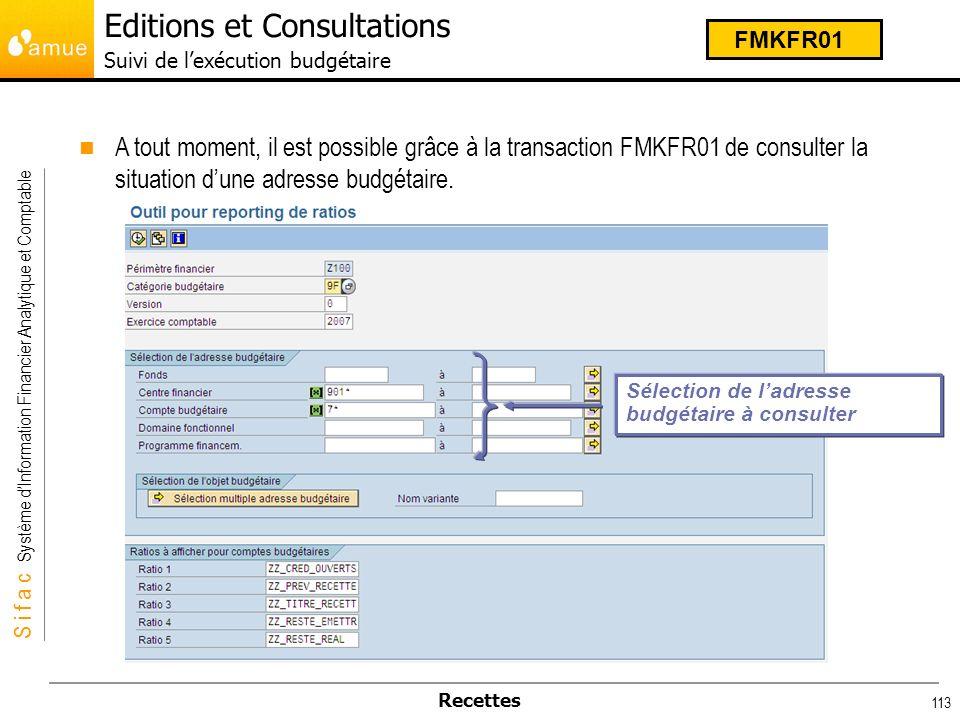 S i f a c Système dInformation Financier Analytique et Comptable Recettes 113 A tout moment, il est possible grâce à la transaction FMKFR01 de consult