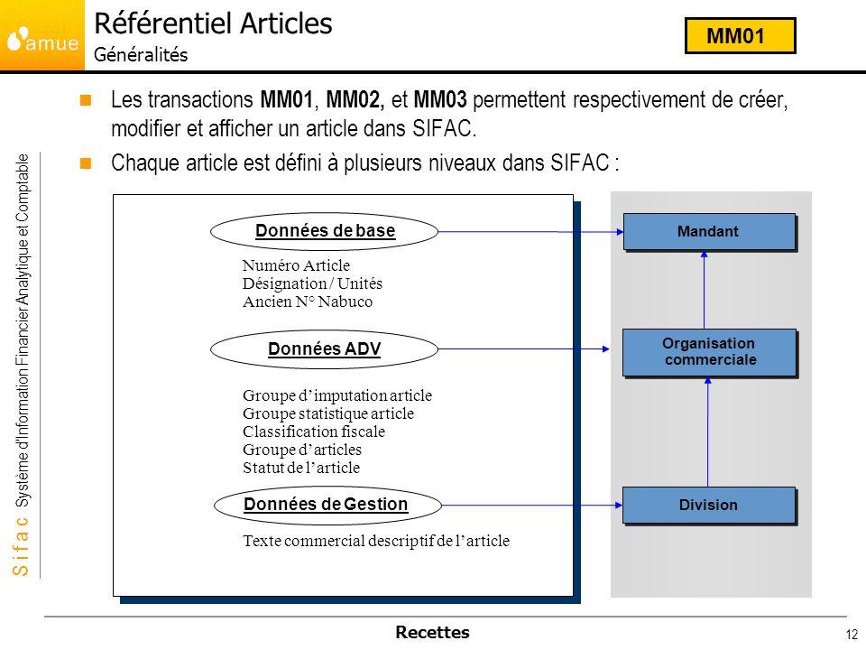 S i f a c Système dInformation Financier Analytique et Comptable Recettes 12 Les transactions MM01, MM02, et MM03 permettent respectivement de créer,