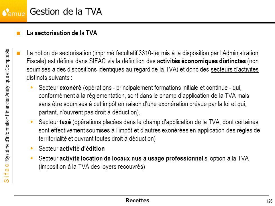 S i f a c Système dInformation Financier Analytique et Comptable Recettes 126 Gestion de la TVA La sectorisation de la TVA La notion de sectorisation