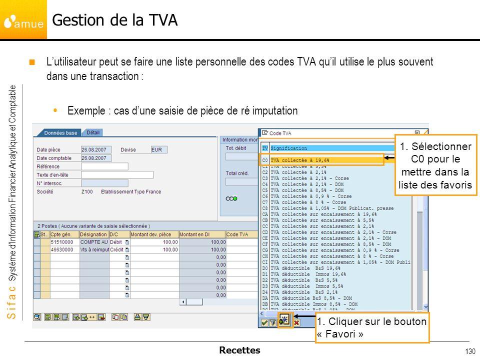 S i f a c Système dInformation Financier Analytique et Comptable Recettes 130 Gestion de la TVA Lutilisateur peut se faire une liste personnelle des c