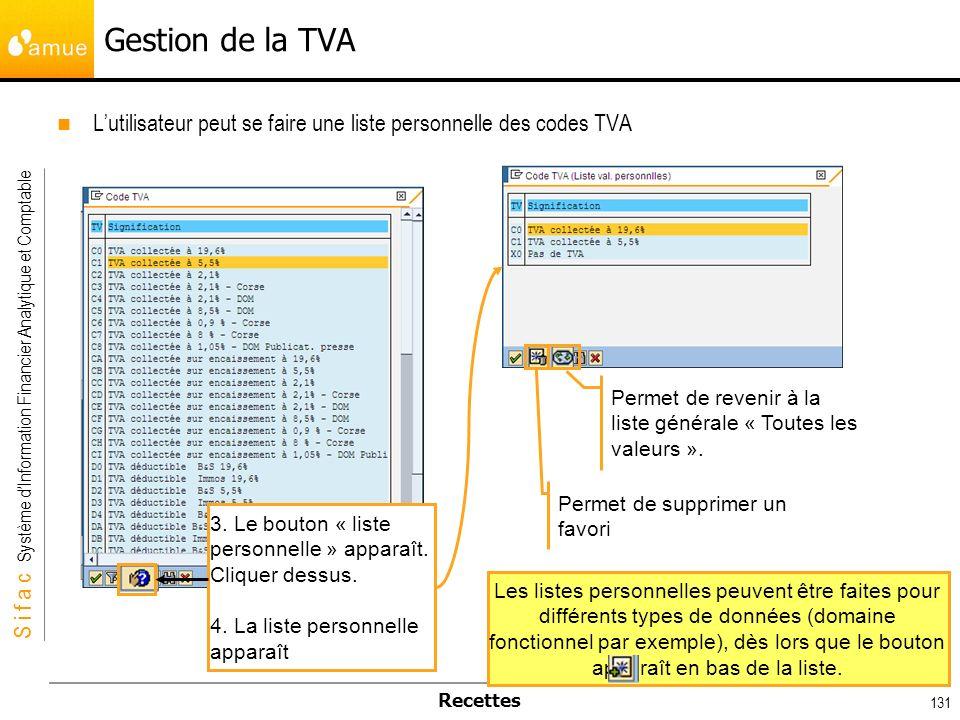 S i f a c Système dInformation Financier Analytique et Comptable Recettes 131 Lutilisateur peut se faire une liste personnelle des codes TVA Gestion d