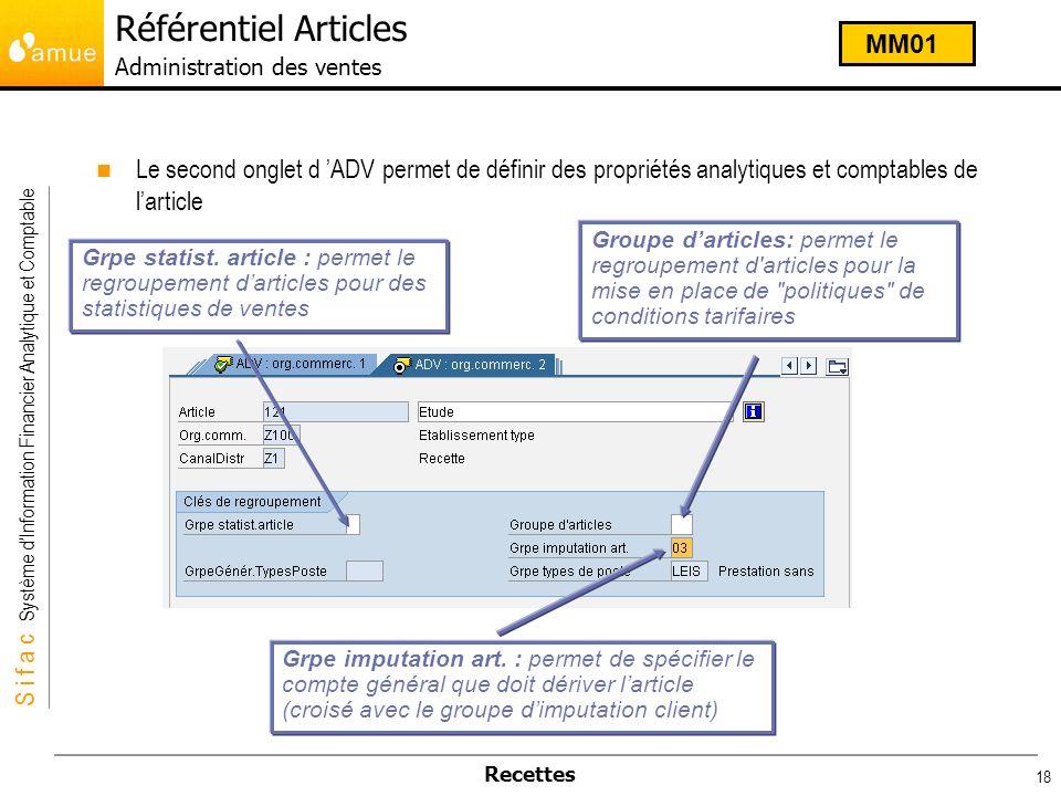 S i f a c Système dInformation Financier Analytique et Comptable Recettes 18 Le second onglet d ADV permet de définir des propriétés analytiques et co
